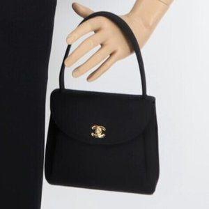 Chanel Black Grosgrain CC  Kelly Top Handle Bag